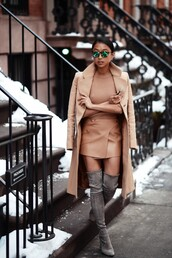 shine by three,coat,sweater,skirt,shoes,sunglasses,monochrome outfit