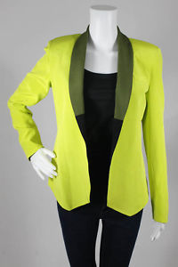New Laveer Neon Yellow Olive Silk Colorblock Collar Slim Jacket Blazer 2 $473 | eBay