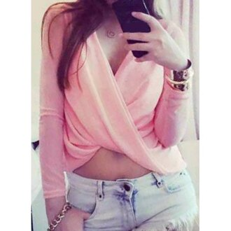 top pink casual summer long sleeves cute girly rose wholesale-ap