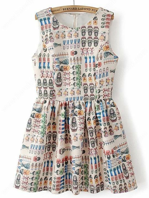 Multicolor Round Neck Sleeveless Cartoon Characters Print Dress - HandpickLook.com