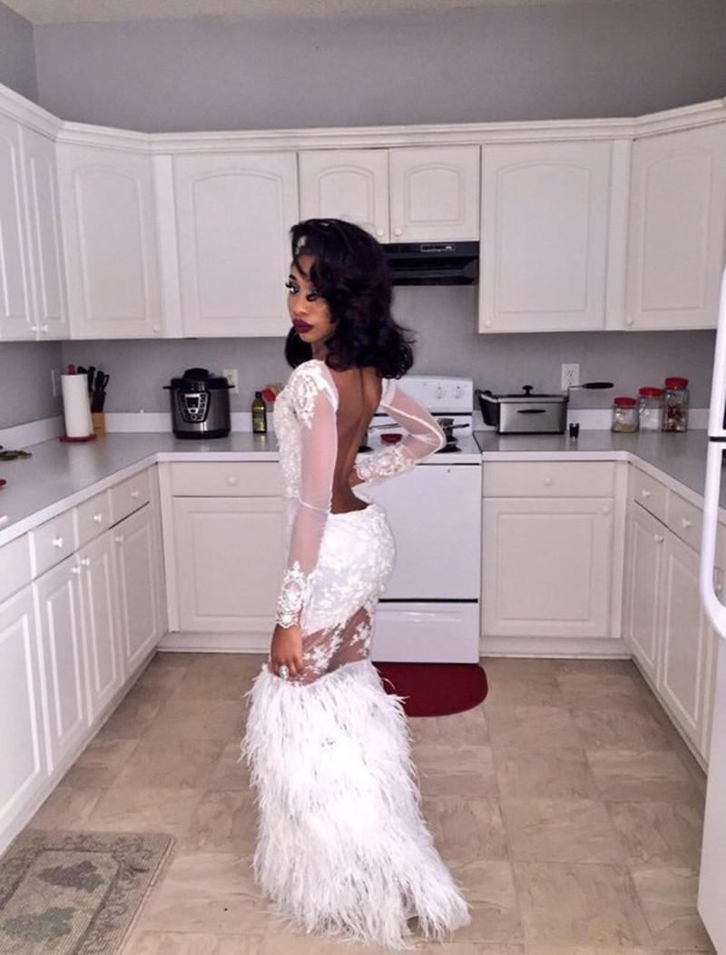 Aliexpress.com : Buy Feathers Mermaid Prom Dress Beautiful White ...