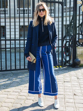 pants,denim,jeans,blue jeans,denim culottes,culottes,shoes,white shoes,streetstyle,sweater,zip,black sweater,coat,blue coat,sunglasses,bag,pouch