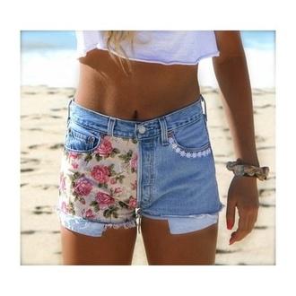 shorts patchwork flowers summer flower shorts