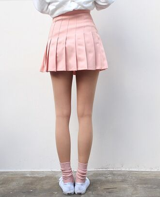 skirt pink light pink pastel short love tennis skirt back to school pleated skirt pink skirt