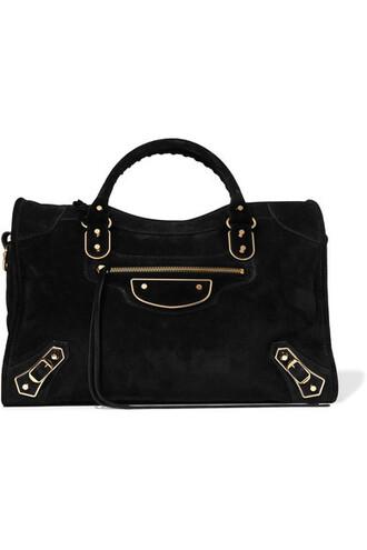 metallic classic suede black bag