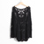 FM Women Lace Retro Floral Knit Top Long Sleeve Crochet T Shirt Black Blouse F | eBay
