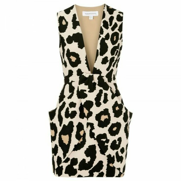 dress leopard print low cut midi v neck sleeveless