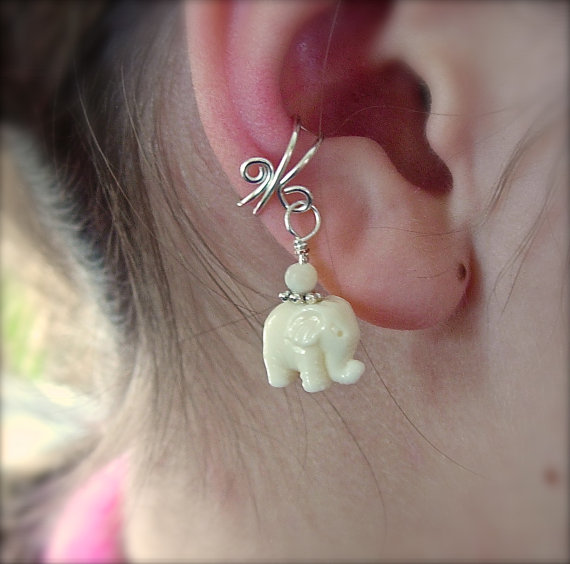 Ear Cuff Silver Cuff with an Adorable Lucky White by jhammerberg