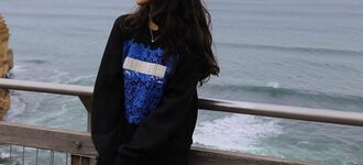 sweater black sweater embroidered black sweatshirt