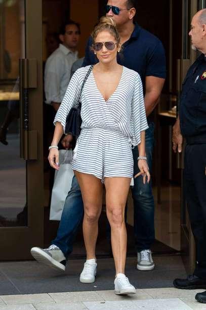 romper jennifer lopez shorts celebrity sneakers