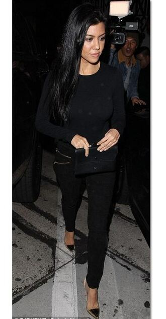 top all black everything kourtney kardashian pumps fall outfits pants bodysuit shoes