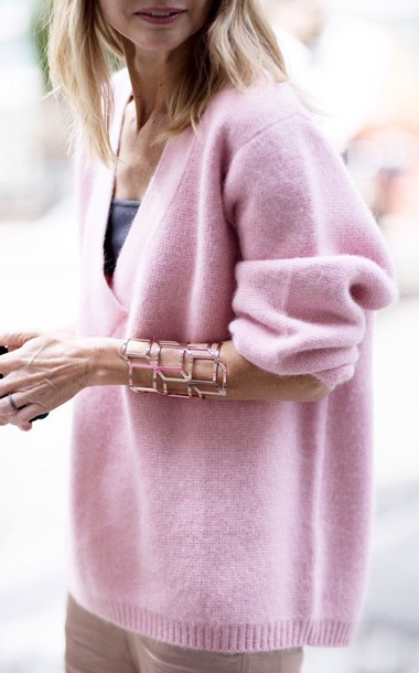 sweater pink cozy oversized jewels