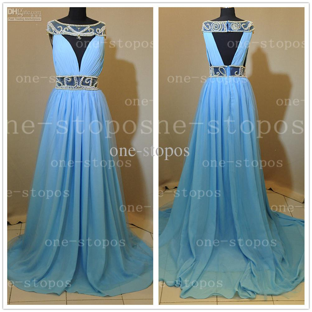 Discount hot sale bateau sheer evening dresses off the shoulder pearl crystal glitz chiffon blue floor length formal prom gown get a free tiara  online with $115.52/piece