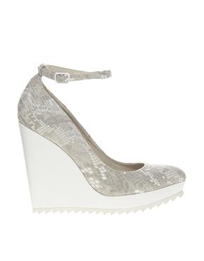 Faith | Faith Close Grey/White Snake Print Wedge Shoes at ASOS