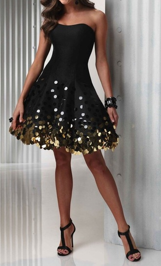 dress sparkle black with gold sequins flare party dress