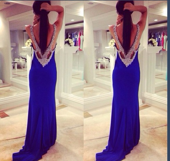 sparkle dress blue formal dress open back