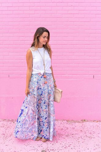 live more beautifully blogger tank top jewels bag anthropologie floral skirt floral maxi skirt statement necklace clutch flats