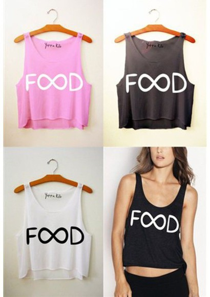infinity black pink blouse food food humor tank top white top quote on it