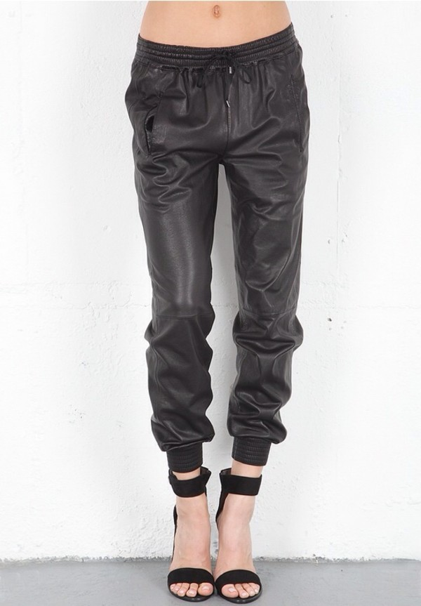 pants black leather
