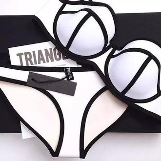 swimwear triangl triangle bikini white bikini
