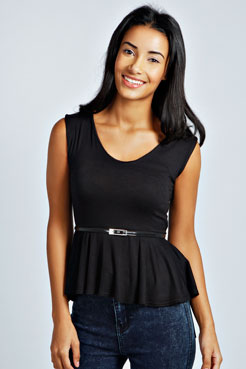 Mollie Belted Peplum Top at boohoo.com