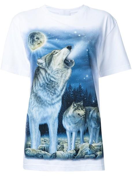 Wall t-shirt shirt t-shirt wolf women white cotton print top