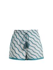shorts,cotton,print,silk,green