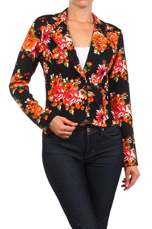 Ikrush womens floral print blazer at amazon women's clothing store: