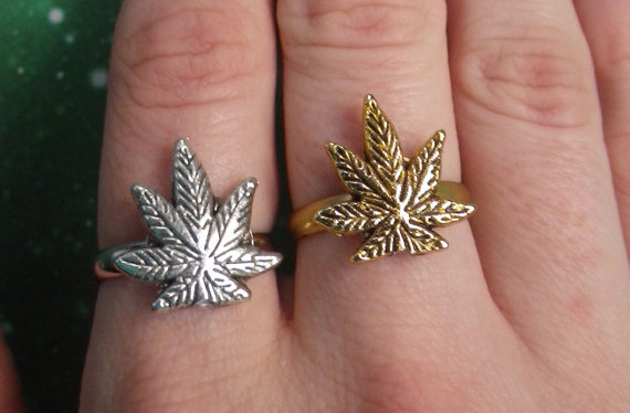 Pot Leaf ring 420 Marijuana Weed  silver or gold by lotusfairy