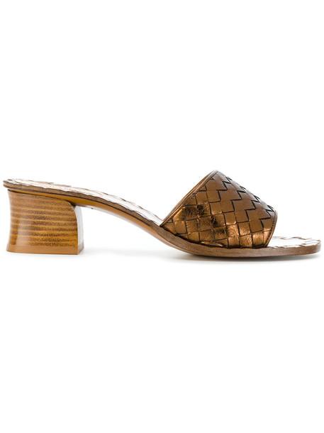 Bottega Veneta heel women sandals leather brown shoes