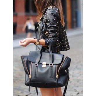bag black and gold black bag gold details black black bag with gold details big bag