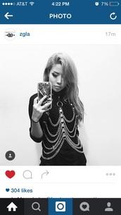 top,black,chain,cool,fashion,punk,body chain,collar,punk jacket,Metal Chain Embellished Bodysuit