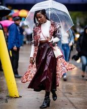 shoes,vinyl,high heels boots,vinyl skirt,cropped turtleneck,coat,crossbody bag,umbrella