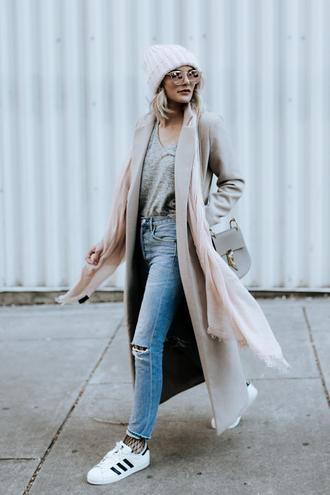 sosageblog blogger sweater hat shoes bag sunglasses beanie winter outfits beige coat long coat sneakers adidas shoes
