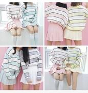 skirt,asian fashion,korean fashion,korean style,korean shirt,high waisted skirt,kawaii,stripes,striped top,striped shirt,sweater