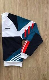 sweater,adidas,jumper,hoodie,blue,white,red,emo,punk rock