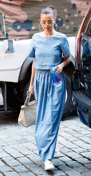 dress maxi dress selena gomez streetstyle sneakers