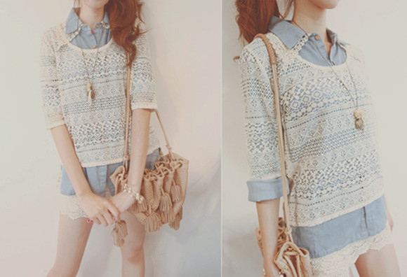 blouse white top button up blouse flowy lace light blue collared blouse curvy