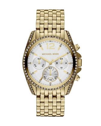 Size golden stainless steel pressley chronograph glitz watch