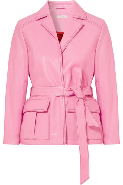 Ganni jacket leather jacket leather pink