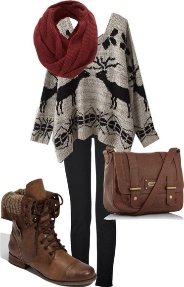 deer winter outfits sweater pattern shoes