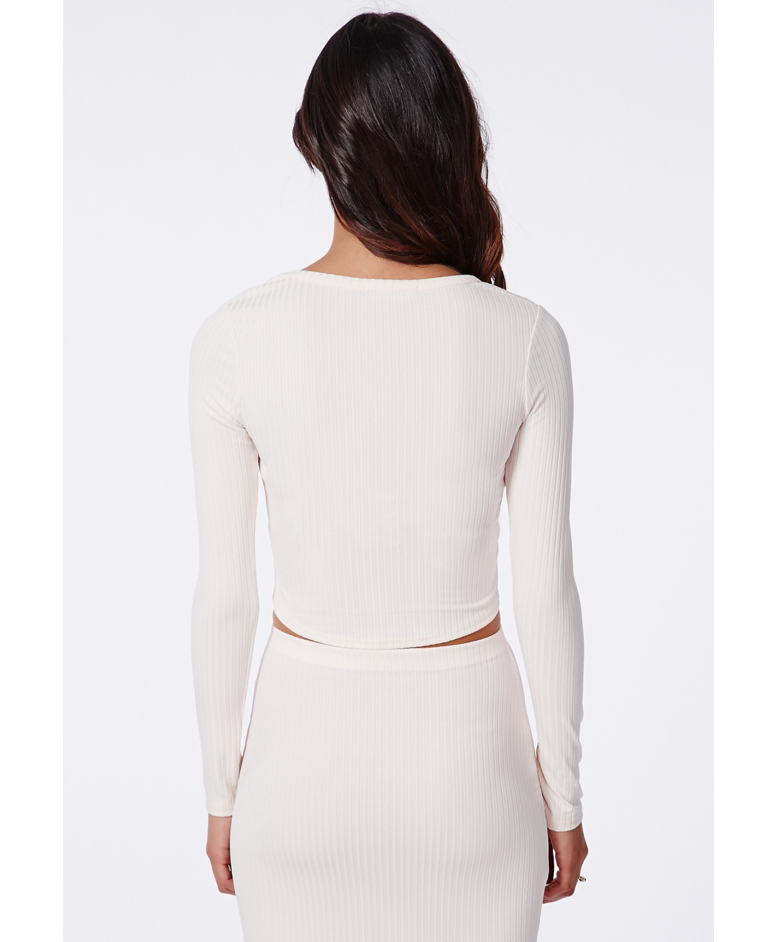 Missguided - Elania Long Sleeve Ribbed Jersey Crop Top Nude