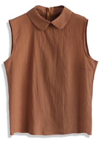 top peter pan collar top in tan chicwish summer top boho top chicwish.com