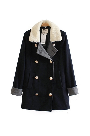 Detachable Fleece Hood Double Breasted Coat [FEBK0385]- US$54.99 - PersunMall.com