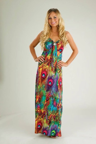 dress peacock maxi dress green holiday colourful perfect summer dress gorgeous