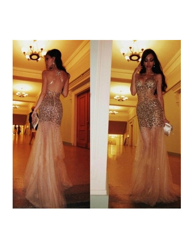 Glitter dress tulle mermaid crystal long evening gold prom dresses