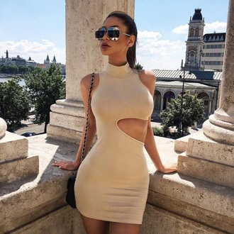 dress nude cut-out collared bodycon dress