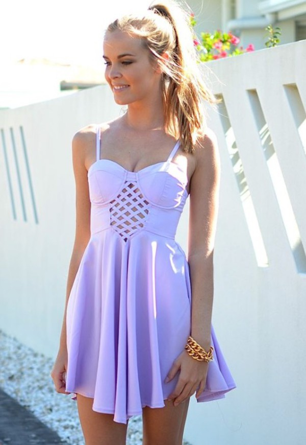 Girls With Light Purple Hair Tumblr dress, skater dress, p...