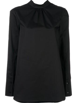 blouse women cotton black top