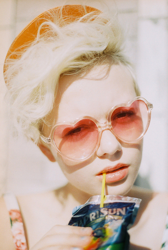 sunglasses heart sunglasses summer accessories platinum hair